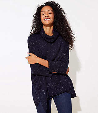 LOFT Petite Flecked Turtleneck Poncho Sweater