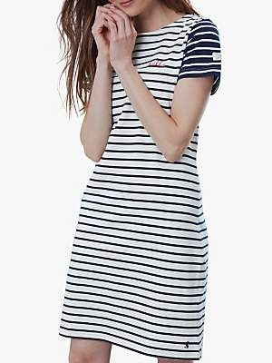Joules Riviera Short Sleeve Jersey Dress, Neutral/Navy Blue