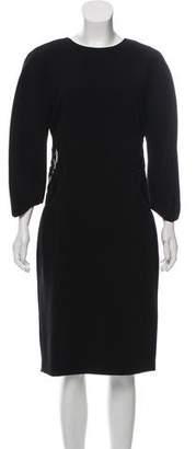Bottega Veneta Leather-Trimmed Midi Dress