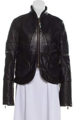 Just Cavalli Leather Zip-Up Jacket