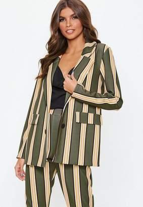 Missguided Khaki Striped Blazer, Khaki