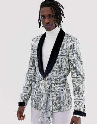 Asos Edition EDITION skinny blazer jacket with all over monochrome print and velvet collar