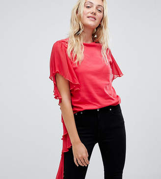 Asos Tall TALL T-Shirt with Dramatic Assymetric Woven Ruffle
