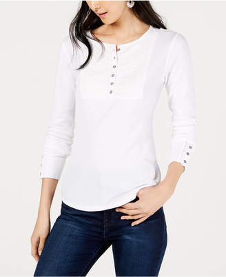 Lucky Brand Cotton Embroidered Henley Thermal Top