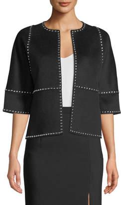 Michael Kors Half-Sleeve Melton-Studded Coat