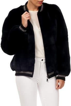 Gorski Rex Rabbit Fur Wool Glitter-Trim Bomber Jacket