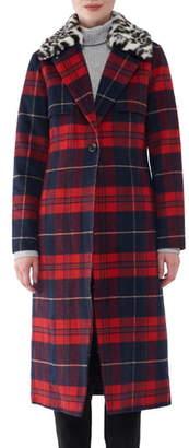 NVLT Faux Fur Collar Plaid Long Coat