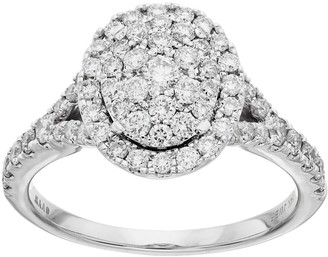 Vera Wang Simply Vera 10th Anniversary 14k White Gold 1 ct. T.W. Diamond Cluster Engagement Ring