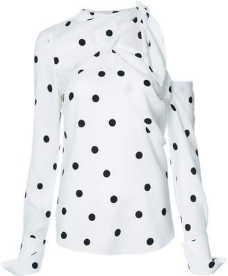 Monse cold shoulder polka-dot blouse