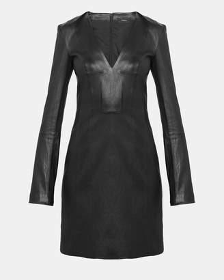 Theory Leather V Neck Mini Dress