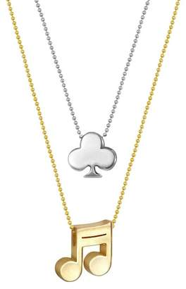 Alex Woo 14K Gold & Sterling Silver Little Vegas Clover & Note Necklace - Set of 2