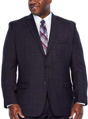 COLLECTION Collection by Michael Strahan Burgundy Plaid Plaid Stretch Suit Jacket-Big and Tall