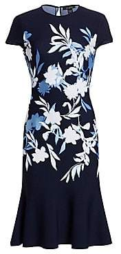 St. John Women's Shadow Floral Jacquard Cap Sleeve Dress