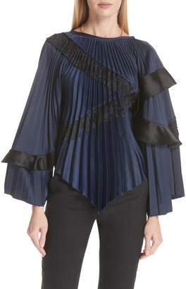 Self-Portrait Lace Trim Pleated Satin Blouse
