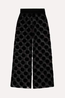 Myla Brick Lane Polka-dot Flocked Tulle Pajama Pants - Black