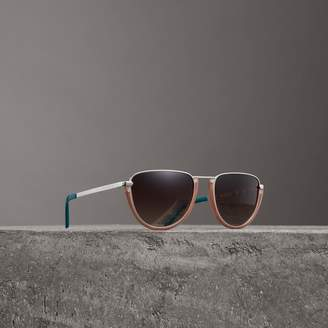 Burberry Half Moon Pilot Round Frame Sunglasses