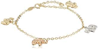 14k Tri Color Gold Elephant Charm Bracelet