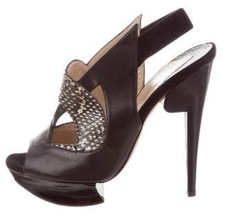 Nicholas Kirkwood Snakeskin Cutout Sandals