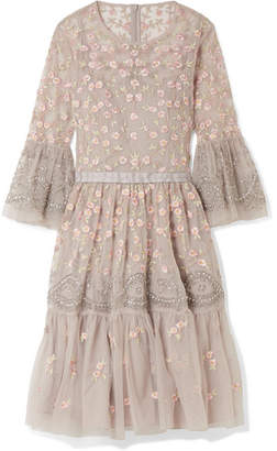 Needle & Thread Climbing Blossom Embellished Embroidered Tulle Mini Dress - Light gray