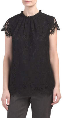 High Neck Lace Short Sleeve Top