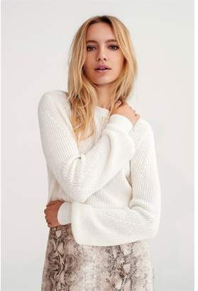 Dynamite Grace Puff Sleeve Sweater Snow White