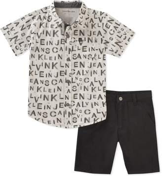 Calvin Klein Little Boys' 2 Pieces Shirt Shorts Set
