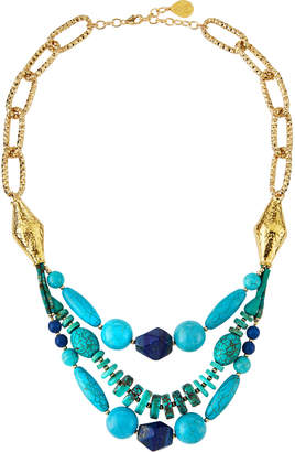 Devon Leigh Turquoise, Coral & Jade Collar Necklace