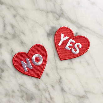 Kay Barker Illustrations Yes And No Love Heart Valentine's Embroidered Patches
