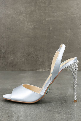 Betsey Johnson SB-Naomi Light Blue Satin Peep-Toe Heels $129 thestylecure.com