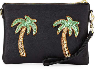 Tea & Tequila Palm Tree Chain Clutch Bag, Black
