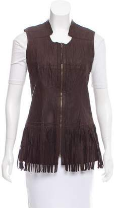 Illia Leather Fringe Vest