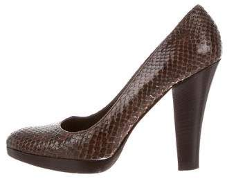 Michael Kors Snakeskin Round-Toe Pumps