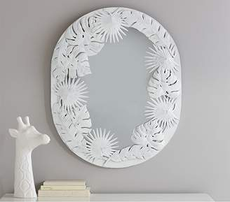 Pottery Barn Kids White Oval Palm Mirror