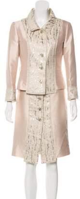 Dolce & Gabbana Silk Knee-Length Skirt Set Champagne Silk Knee-Length Skirt Set