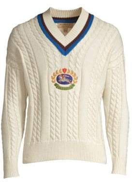 Burberry Embroidered Crescent College Cashmere-Blend Sweater