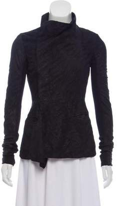 Rick Owens Distressed Leather Casual Jacket