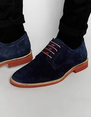 Red Tape Derby Shoes In Navy Suede