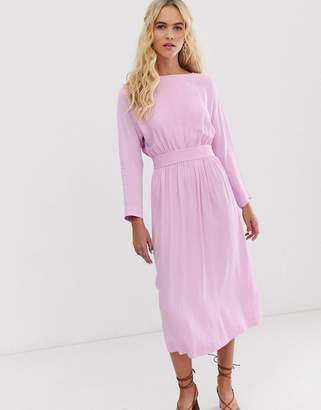 And other stories &  long sleeve satin midi dress in pink