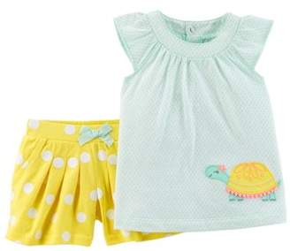 Carter's Child of Mine by Toddler Sleeveless Ruffle Top & Shorts, 2pc Outfit Set