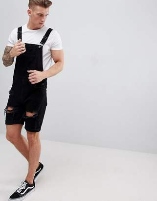 Asos Design DESIGN Denim Short Dungarees In Black With Heavy Rips