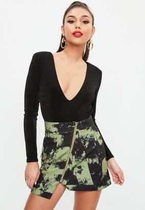 Missguided Khaki Camo Print Zip Front Mini Skirt