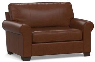 Pottery Barn Buchanan Roll Arm Leather Twin Sleeper Sofa