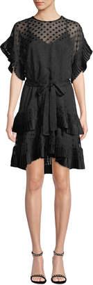 Zimmermann Tiered Polka-Dot Pleated Short Dress
