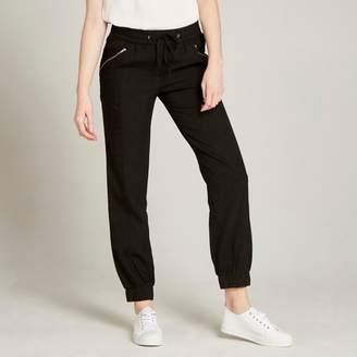 Apricot Black Drawstring Waist Sporty Trousers