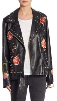 Rose Studded Leather Jacket