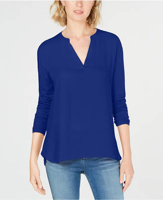 INC International Concepts I.n.c. Mixed-Materials Split-Neck Top