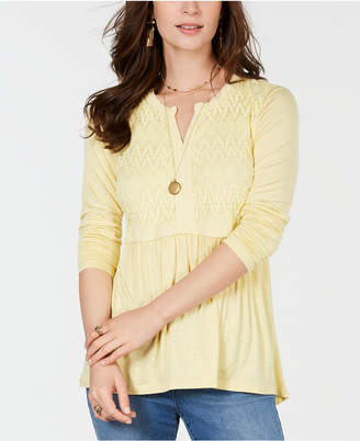 Style&Co. Style & Co Lace-Front Draped Top