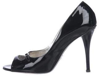 Dolce & Gabbana Patent Leather Peep-Toe Pumps
