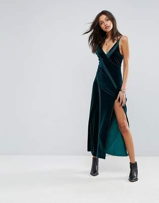 Free People Spliced Velvet High Split Maxi Dress