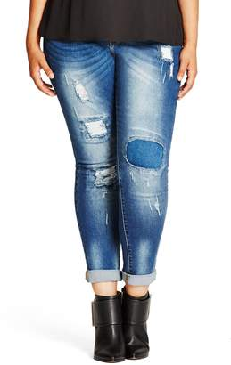 City Chic Patched Up High Rise Distressed Skinny Jeans